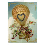 Hot Air Balloon With Flowers Valentine Cards, Gift