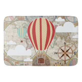Hot Air Balloon & World Map Vintage Adventure Bath Mat