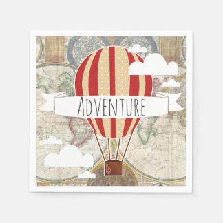 Hot Air Balloon & World Map Vintage Adventure Disposable Serviette