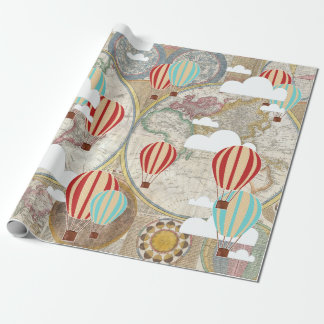 Hot Air Balloon & World Map Vintage Traveler Wrapping Paper