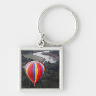 Hot-Air Ballooning over the Mara River Silver-Colored Square Key Ring
