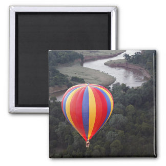 Hot-Air Ballooning over the Mara River Square Magnet