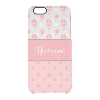 Hot Air Balloons and Polka Dots Personalized Clear iPhone 6/6S Case