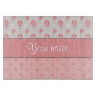 Hot Air Balloons and Polka Dots Personalized Cutting Board