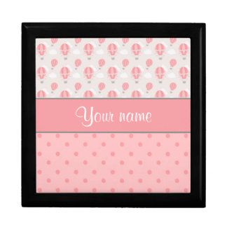 Hot Air Balloons and Polka Dots Personalized Large Square Gift Box
