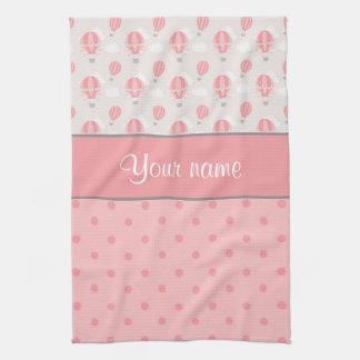 Hot Air Balloons and Polka Dots Personalized Tea Towel