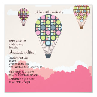 Hot Air Balloons Baby Shower Girl Invitation