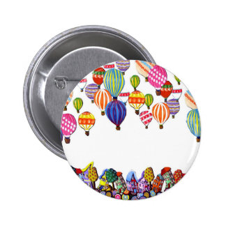 Hot Air Balloons Houses Whimsical Folk Art 6 Cm Round Badge