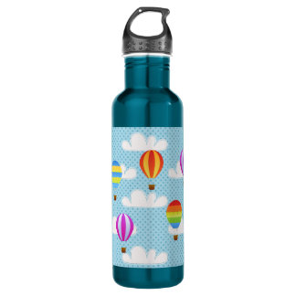 Hot Air Balloons in Cloudy Dotty Sky 710 Ml Water Bottle
