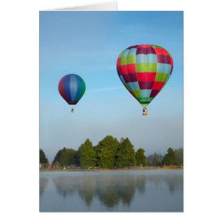 Hot air balloons over a lake,  NZ Card