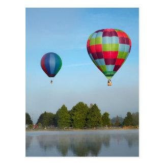 Hot air balloons over a lake,  NZ Postcard