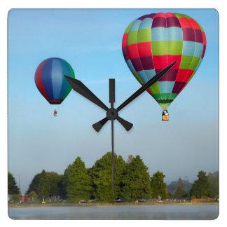 Hot air balloons over a lake,  NZ Square Wall Clock