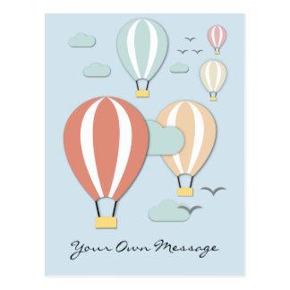 Hot Air Balloons Papercut Style Postcard