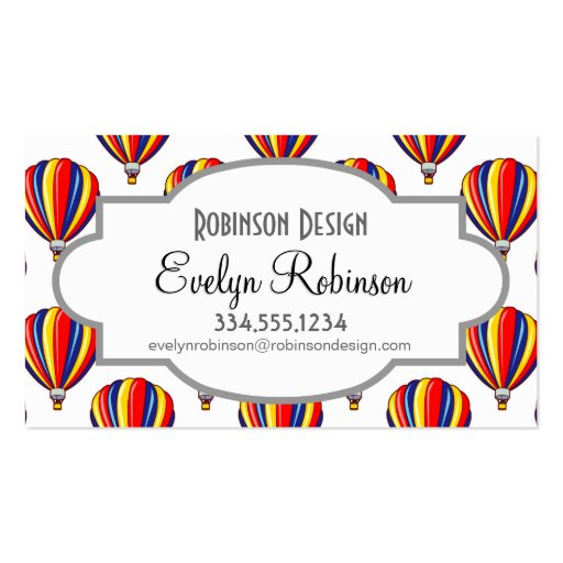 Hot Air Balloons; Red, Blue, Yellow Balloon Business Cards