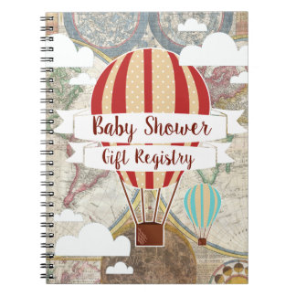 Hot Air Balloons Vintage Adventure Baby Shower Notebook