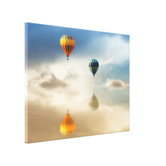 Hot Air Balloons Water Reflection Stretched Canvas Print