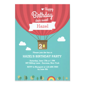 Hot Air Birthday Balloon Invitation