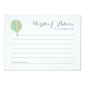 Hot Air Blue Balloon Boy Words of Advice Cards