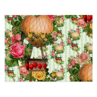 Hot Air Heart Shaped Balloon Repeated Pattern Postcard
