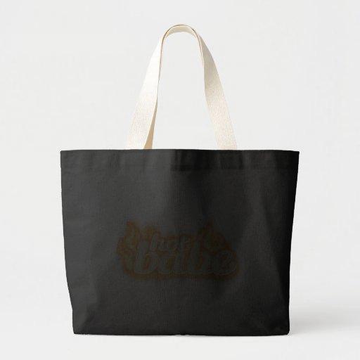 """""""hot babe"""" flames golden & black tote bag"""