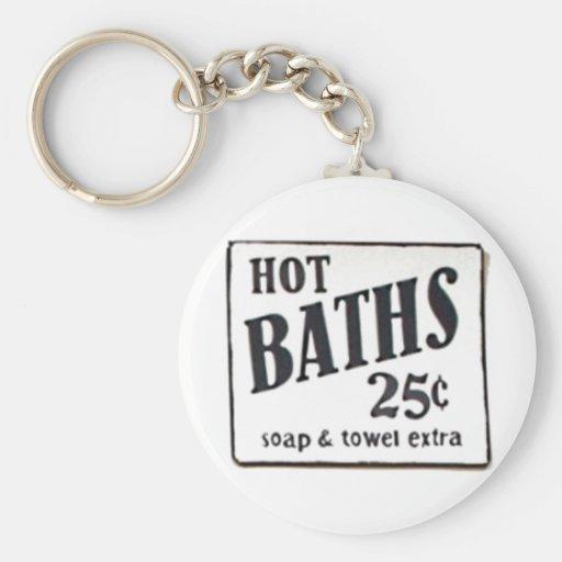 """HOT BATHS 25 CENTS"" Vintage 1950 Sign Keychain"