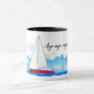 Hot beverages mug - Aye aye, captain sailboat
