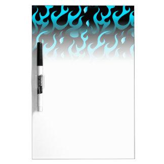 Hot blue flames dry erase board