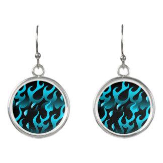 Hot blue flames earrings