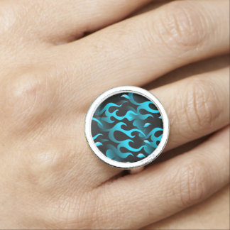 Hot blue flames ring