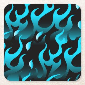 Hot blue flames square paper coaster