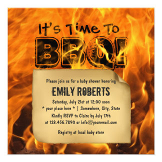 Hot Burning Fire BBQ Baby Shower Invitations