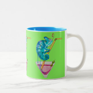 hot chameleon Two-Tone coffee mug
