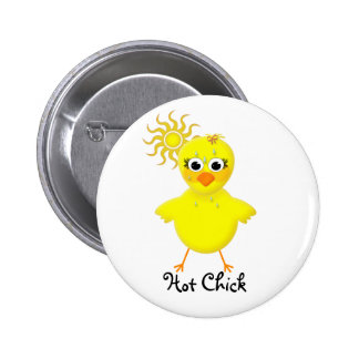 Hot Chick Cute & Fun Cartoon Chicken 6 Cm Round Badge