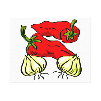 Hot Chili Pepper and Onion Graphic Stretched Canvas Print