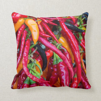 Hot Chili Peppers At Farmers Market In Madison Cushion