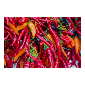 Hot Chili Peppers At Farmers Market In Madison Poster
