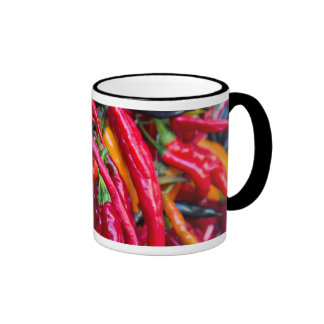 Hot Chili Peppers At Farmers Market In Madison Ringer Mug