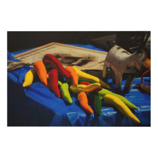 Hot Chili Peppers Wood Canvas