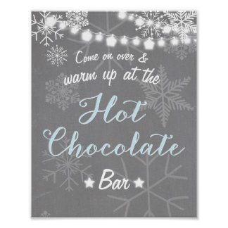 Hot Chocolate Bar Sign Blue Boy snowflakes