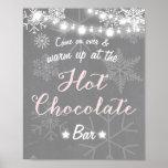 Hot Chocolate Bar Sign Pink Girl snowflakes