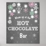 Hot Chocolate Bar Sign Pink snowflakes Rustic