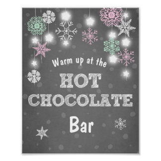 Hot Chocolate Bar Sign Pink snowflakes Rustic
