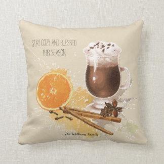 Hot Chocolate Cinnamon Orange Season Greetings Cushion