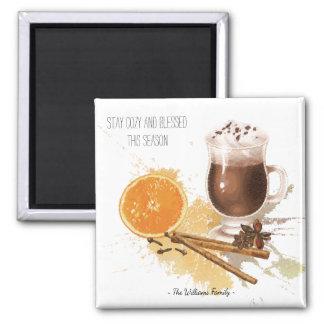 Hot Chocolate Cinnamon Orange Season Greetings Magnet