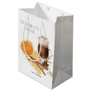 Hot Chocolate Cinnamon Orange Season Greetings Medium Gift Bag