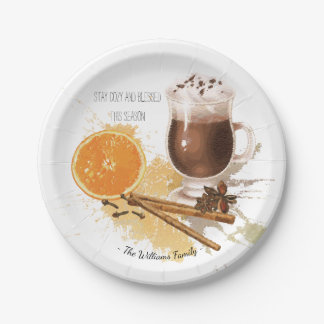 Hot Chocolate Cinnamon Orange Season Greetings Paper Plate