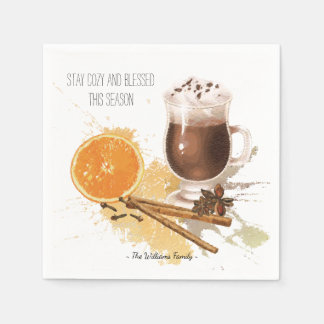 Hot Chocolate Cinnamon Orange Season Greetings Paper Serviettes