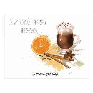 Hot Chocolate Cinnamon Orange Season Greetings Postcard