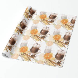 Hot Chocolate Cinnamon Orange Season Greetings Wrapping Paper