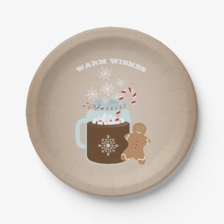 Hot Chocolate Gingerbread Man Christmas Paper Plate